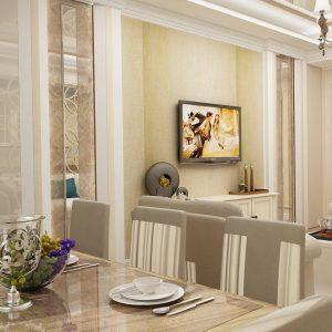 Апартаменты в бежевой гамме на 120 кв м
